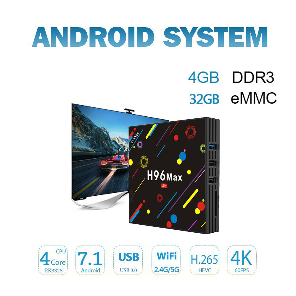 H96 Max-H2 Android 7.1 TVボックス 4K動画再生 4GB / 32GB
