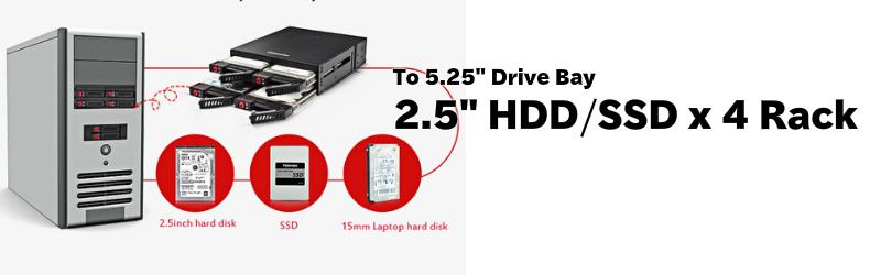 5.25インチ ドライブベイ内蔵対応 2.5インチ ハードディスク/SSD 4ベイ メタルモバイルラック