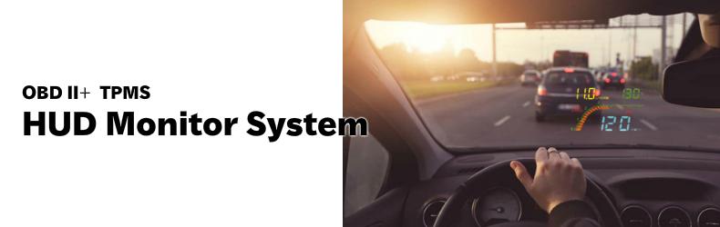 フロントウィンドウヘッドアップディスプレイ OBD2 スキャンツール + TPMS ワイヤレス タイヤ 空気圧 温度 モニタリングシステム