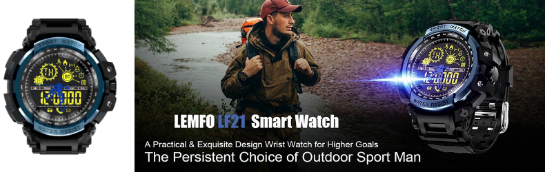 LEMFO LF21 Bluetooth スポーツモニターウオッチ 5気圧防水 歩数計 リマインダー