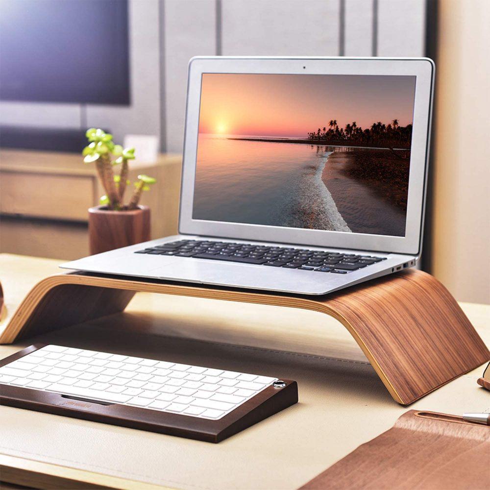 ユニバーサル 木製 パソコン モニター ノートパソコン スタンド