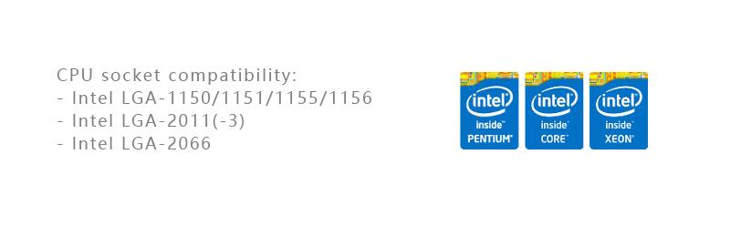 Intel LGA 1150/1151/1155/1156 LGA2011 2066 X99ソケットに対応