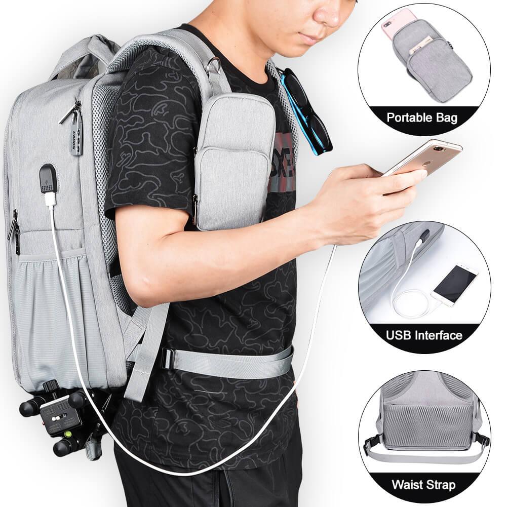 スマートフォンバッグ、USB充電ポート、ウエストストラップ