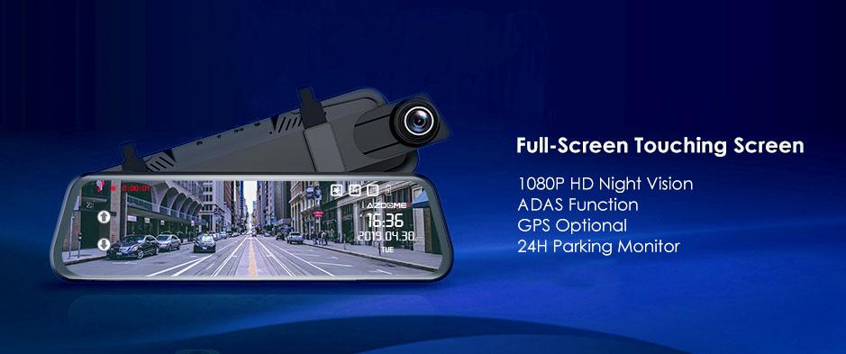 タッチスクリーン ルームミラータイプ ドライブレコーダー 1080P+720P