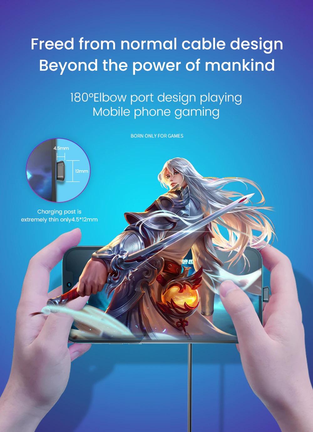 ゲーム対応 スマートフォン用 充電ケーブル 90°折り曲げ Type-C MicroUSB Lightning