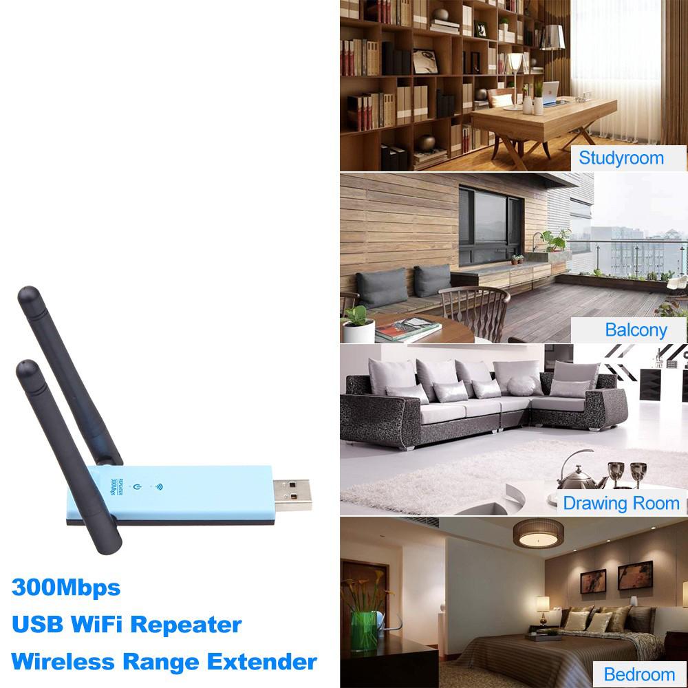デュアルアンテナ USB Wi-Fi ワイヤレス リピーター エクステンダー シグナルブースター IEEE 802.11b/g/n 300Mbps