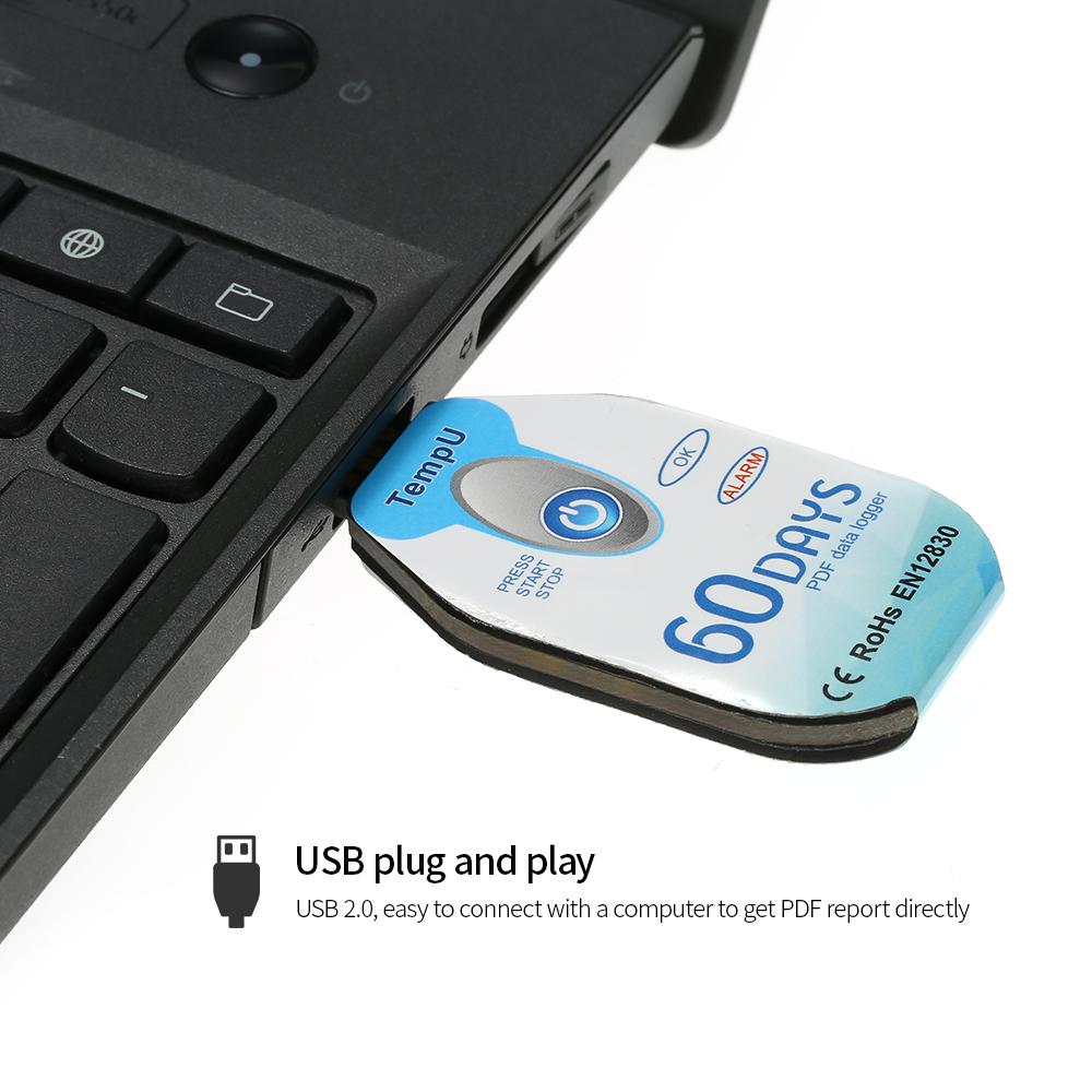 60日 10000ポイント 使い捨て USB 温度データロガー PDFレポート
