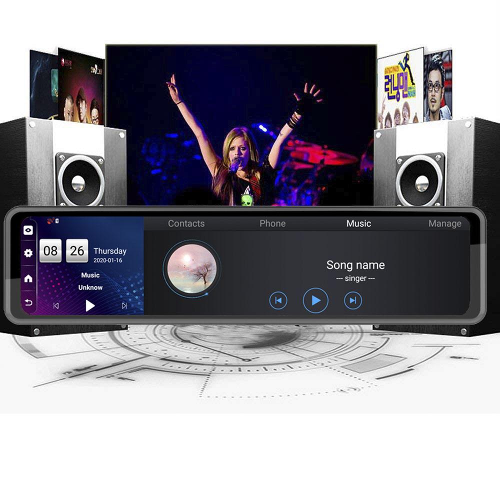 2カメラ 12インチ 1080P ダッシュボードドライブレコーダー FMトランスミッター