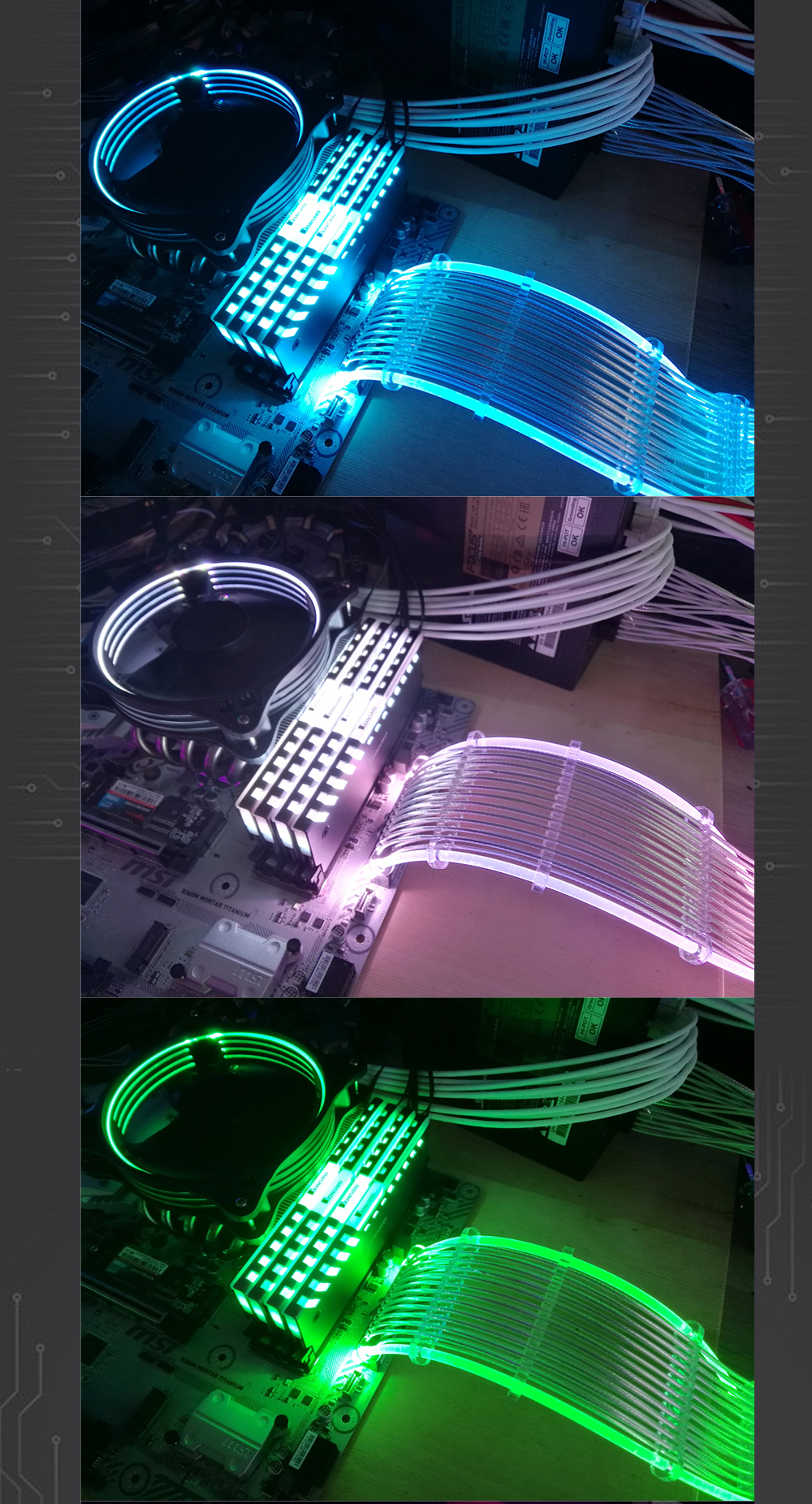 PSU RGB レインボー 延長ケーブル ATX 24ピン GPU 8(6 + 2)ピン 5V同期
