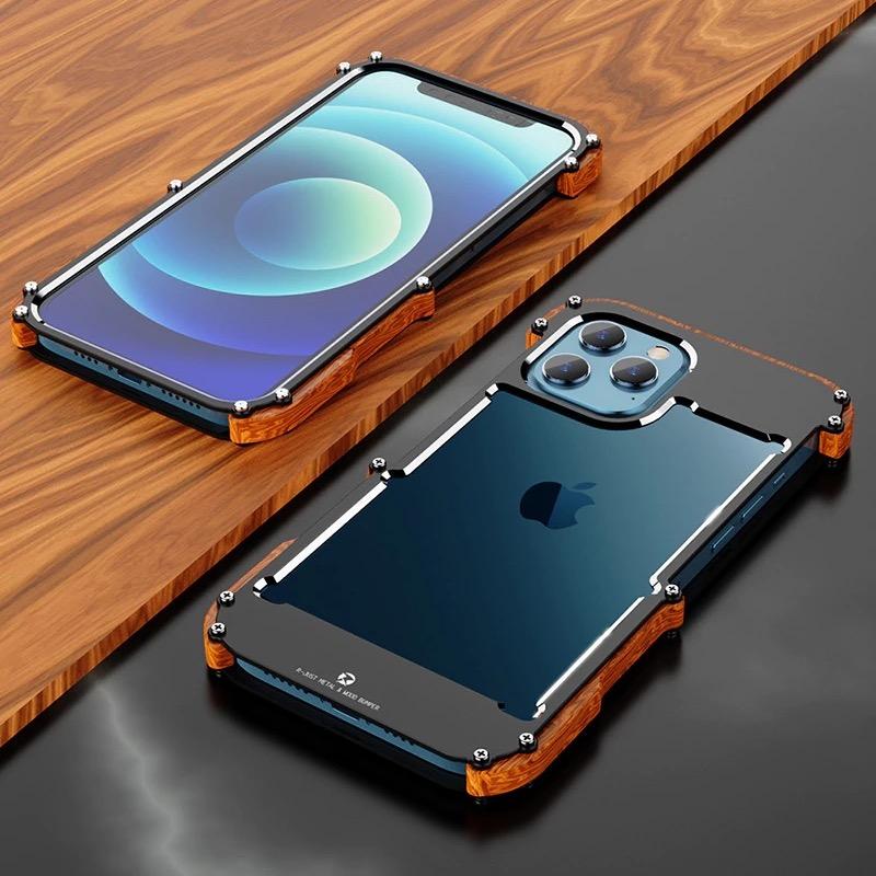 iPhone 12 11 X 8 7 6 SE (2020)対応 アルミニウム & ウッドバンパーケース