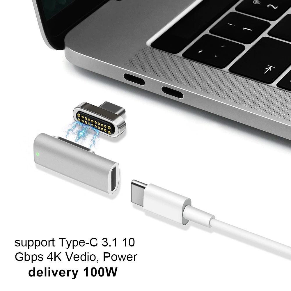 PD100W USB 3.1 Type-C マグネットアダプター 10Gbp/s データ転送対応