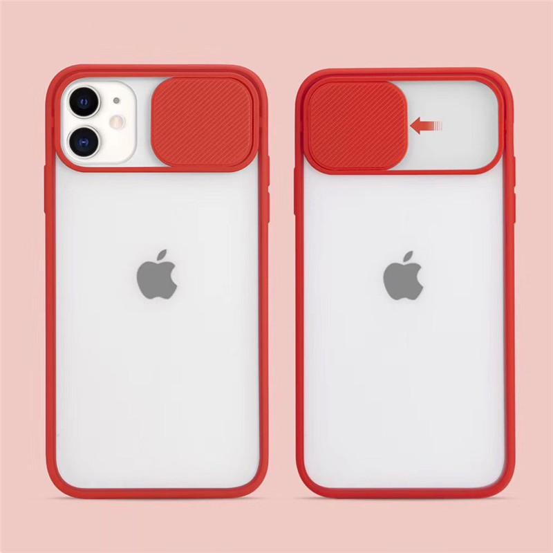 iPhone対応 スライド レンズカバー付き マットポリカーボネート シースルーケース