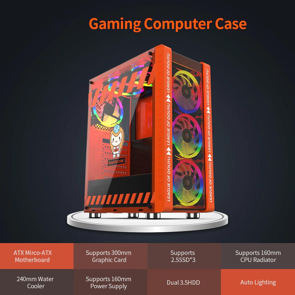 ATX対応 SPCC + 強化ガラス ゲーミング デスクトップパソコン タワーケース 水冷対応