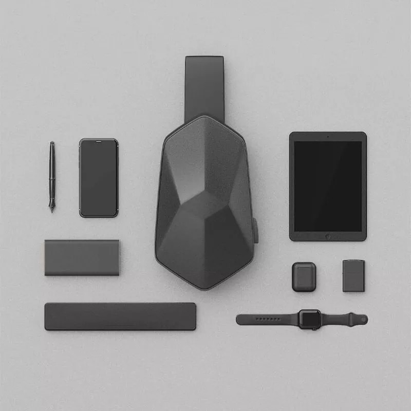 USB充電ポート付き 多面体デザイン ボディーバッグ