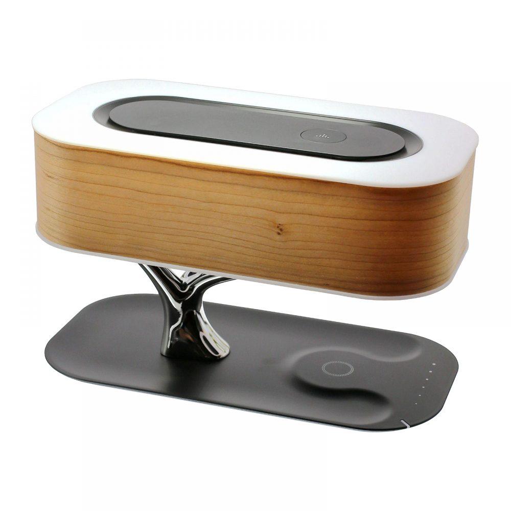 ツリーデザイン Qiワイヤレス充電器付き Bluetoothスピーカー LEDテーブルランプ