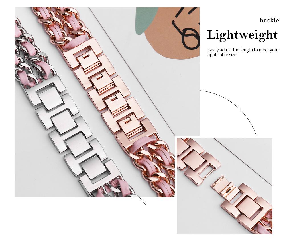 Apple Watch レディース ステンレス レザー チェーンブレスレット