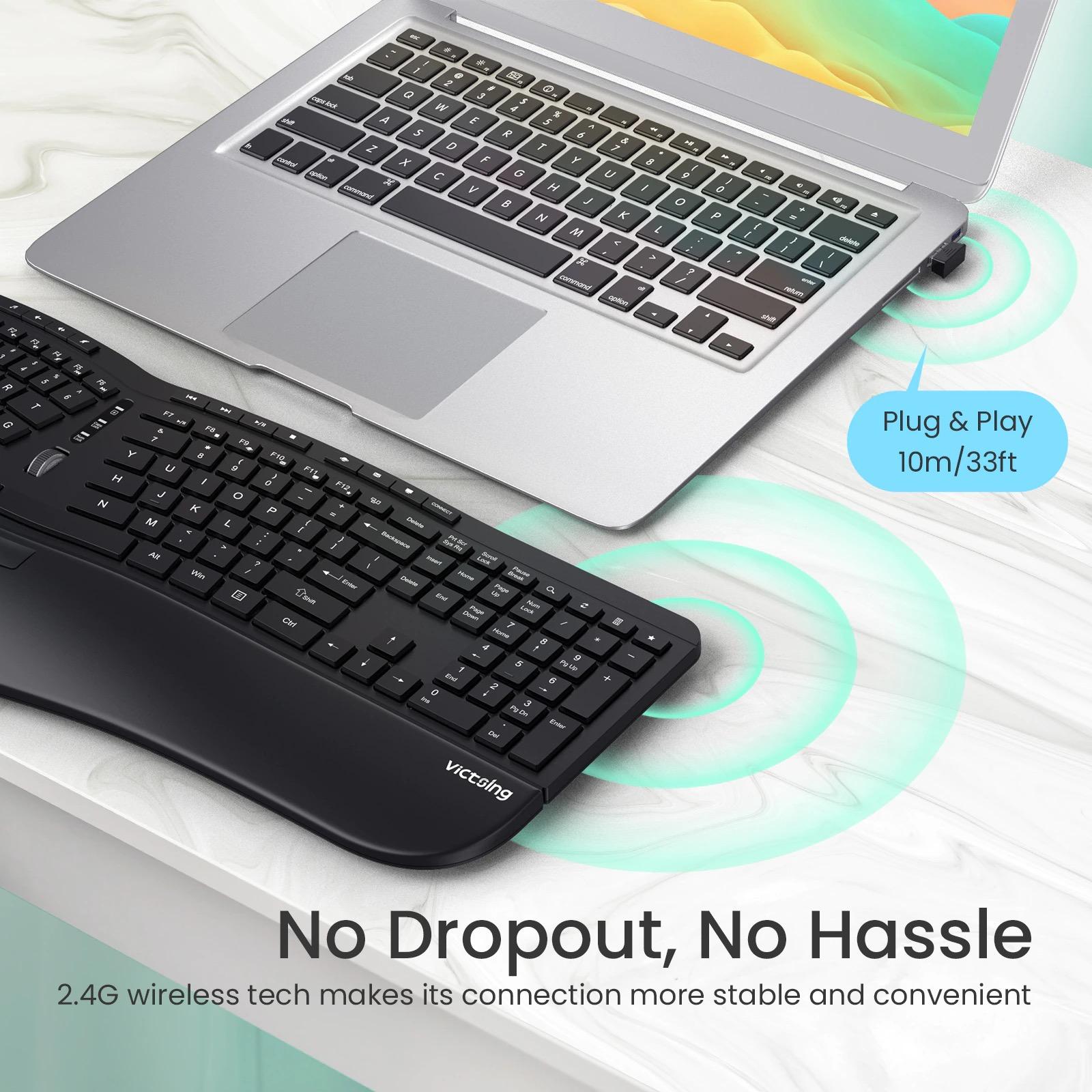 Bluetooth 2.4GHz ワイヤレス エルゴノミック スプリット キーボード
